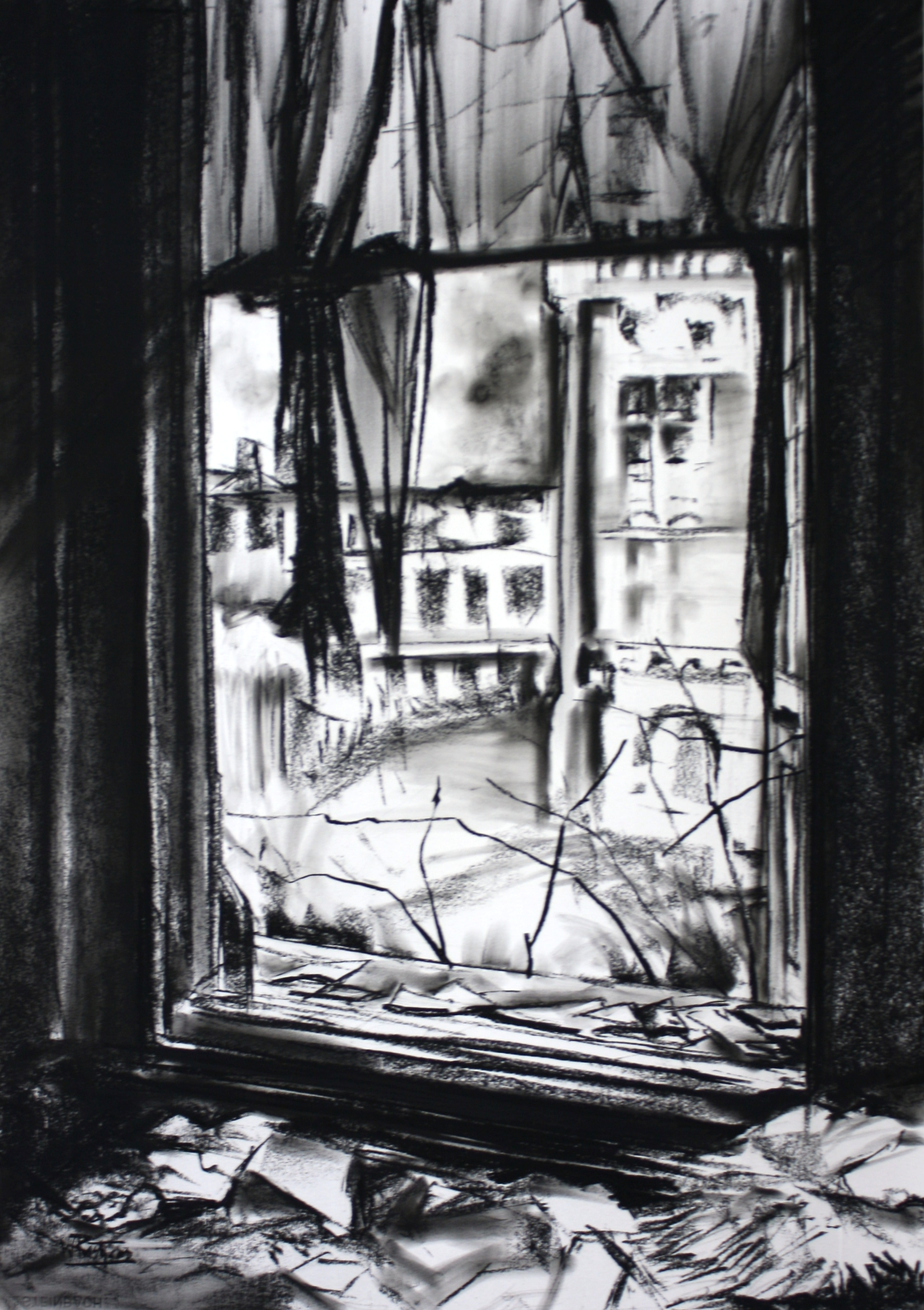 The joy of drawing broken window charcoal on paper 70x100cm thecheapjerseys Images